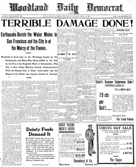 1906 San Francisco earthquake newspaper article. - TMalmay