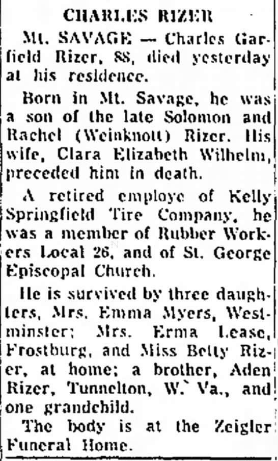 Obituary of Charles Rizer