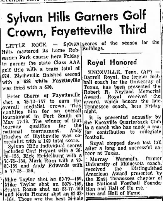 Sylvan Hills Garners Golf Crown, Fayetteville Third