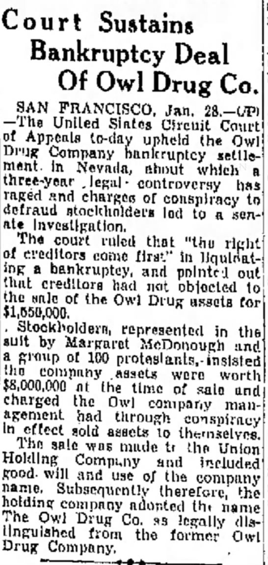 Court sustains Owl Drug bankruptcy 1935