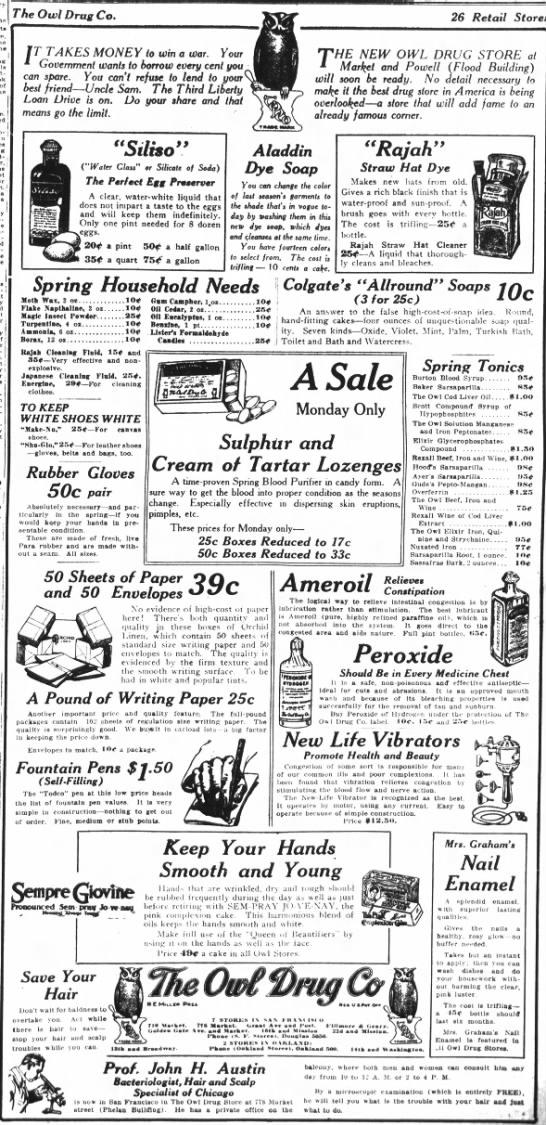 Owl Drug 1918 ad
