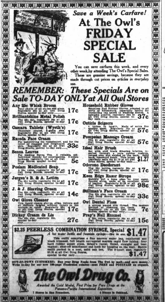 Owl Drug ad 1915