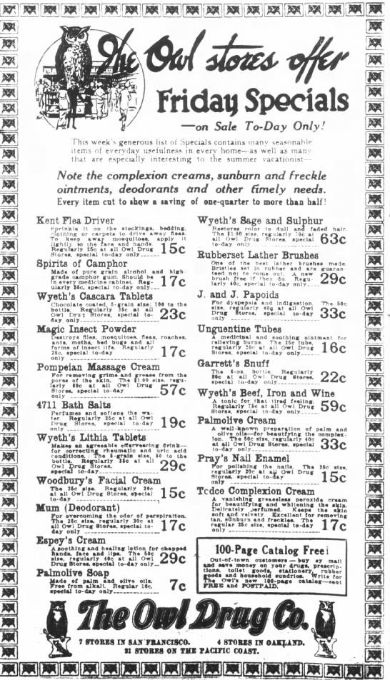 1915 Owl Drug ad