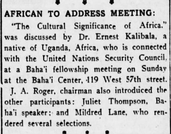 Ugandan Earnest Kalibala talk at Baha'i center followed by Juliet Thompson and Mildred Lane.