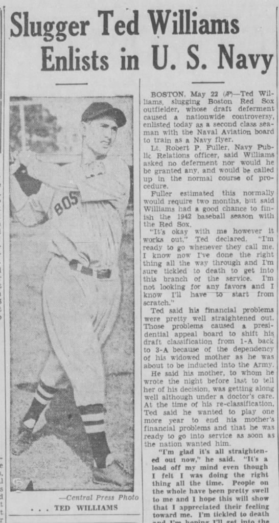 Ted Williams Enlists - May 1942
