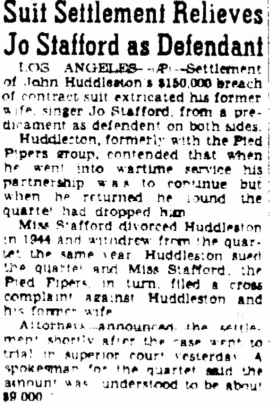 Huddleston lawsuit settled 1947