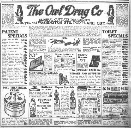 Owl Drug 1910 ad