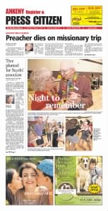 Sample Ankeny Press Citizen front page