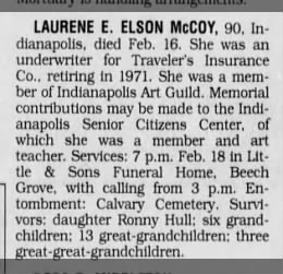 Laurene Elson obituary