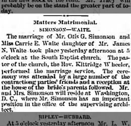 WAITE, James N. 1885.10.29 Marriage of daughter Carrie