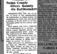 Bounty on Rattlesnakes 1928