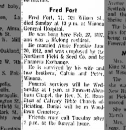 1958-06-30 Fred Fort Dies Winona Daily News