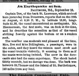 1875-Aug-29: Bark St. Lawrence encounters EQ at sea off St Thomas