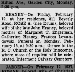 BDE, 2/13/1937, p 11; Rose Drum Heaney, Calvary.