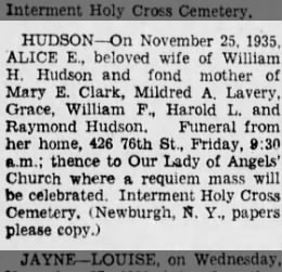Obituary for Alice E. Hudson (nee Connell)
