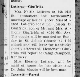 August 12, 1943 Giuffrida Wedding