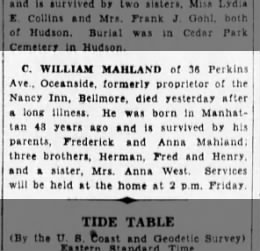MAHLAND Claus William-death notice-BrooklynDailyEagle-15 Feb 1938