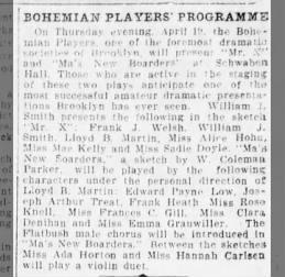 Bohemian Players' Programme mentioning Miss Emma Grauwiller