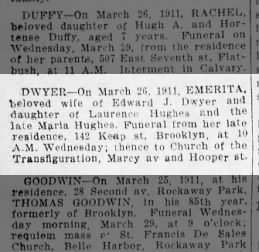 The Brooklyn Daily Eagle, Brooklyn, New York, Monday, March 27, 1911, page 20, col 1.