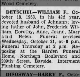 Wm F Detschel obit October 18, 1953