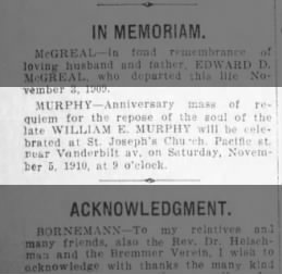 William E. Murphy death anniversary Mass Brooklyn Eagle 4 Nov 1910