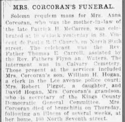 Honorah Foley Hogan Corcoran obit  5 May 1912