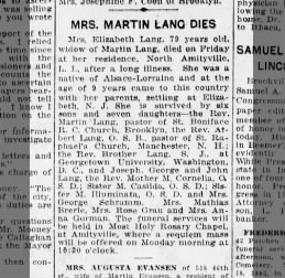 Obituary for Elizabeth Lang