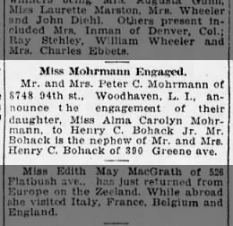 MOHRMANN Alma Carolyn-engagement-BrooklynDailyEagle-10 Oct 1920