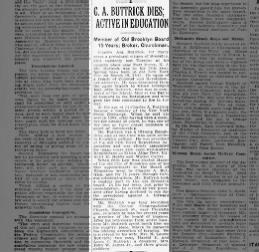 Obituary - Charles A Buttrick (He came of a family of Colonial and Revolutionary Ancestry)