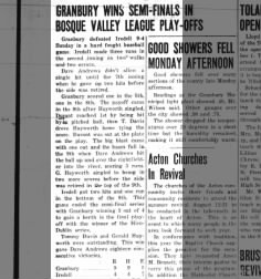 Dave Andrews, Gerald Hayworth and Tommy Davis' Baseball Talents. August 11,1955