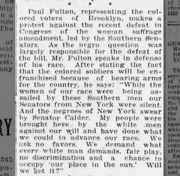 Paul Fulton protest against Congress vote, The Brooklyn Daily Eagle, 19 Oct 1918, pg 14