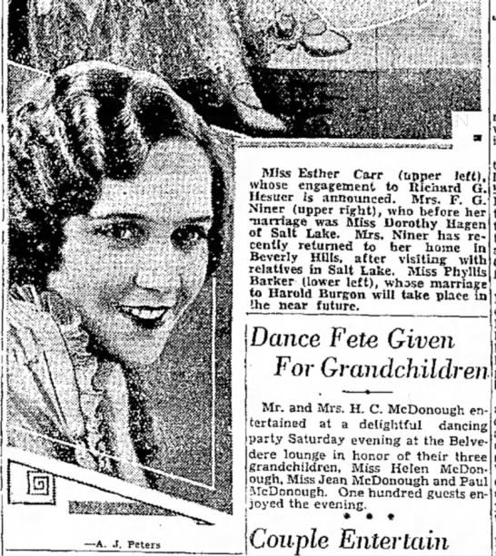 1932 Phyllis Barker to marry Harold Burgon, 12 June, p. 32
