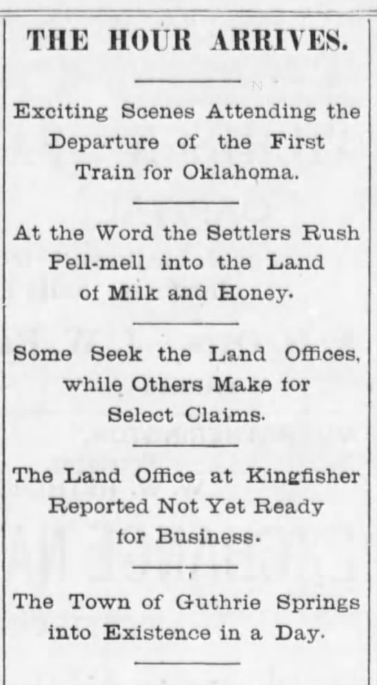 Oklahoma land rush begins