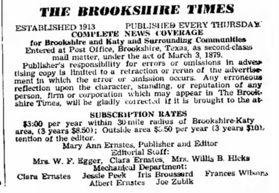 Joe Henry Zubik,. Jr. - Brookshire Times 1964