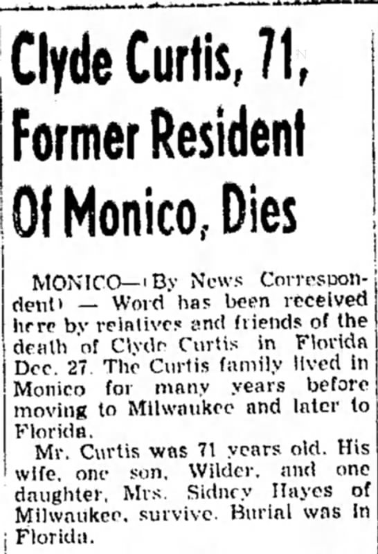 Clyde Curtis, 71, Former Resident Of Monico, Dies
