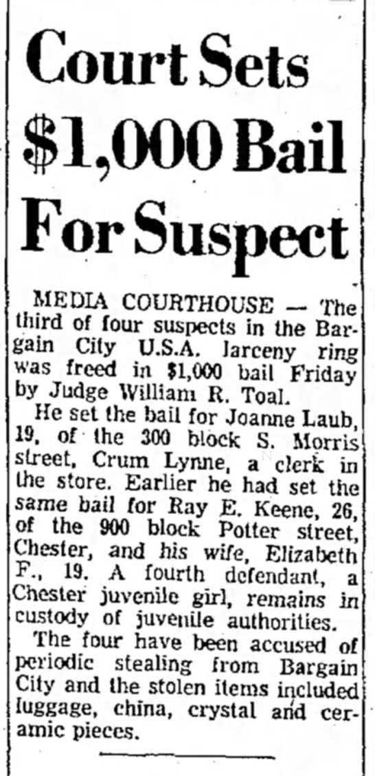 RAY KEENE BAIL SET DELAWARE DAILY TIMES JUNE 4 1960
