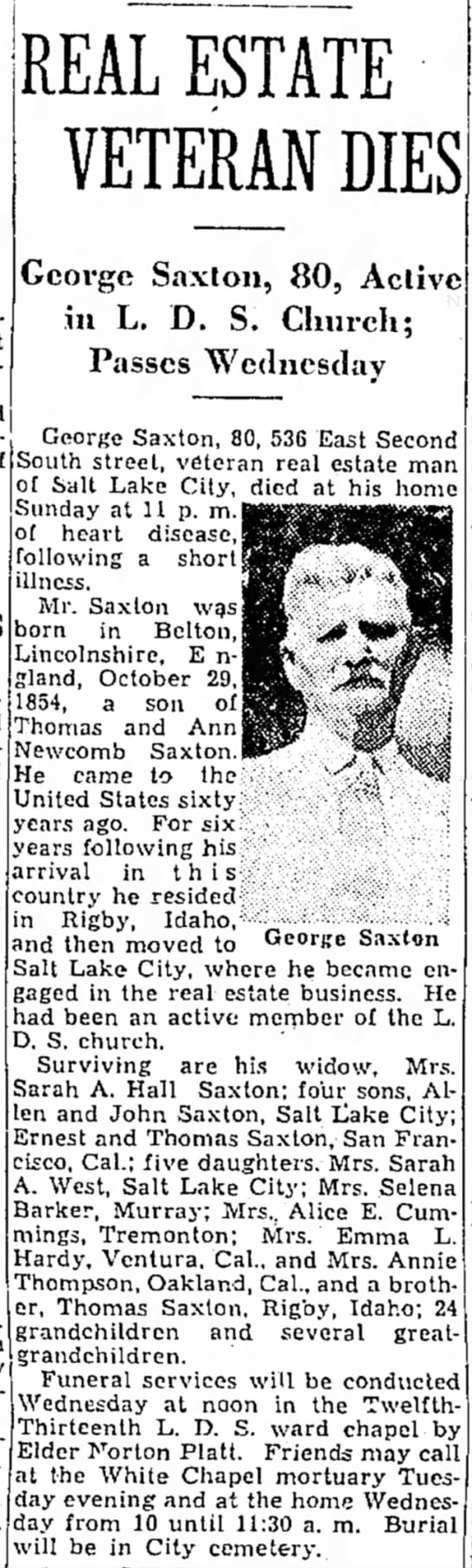 Obituary of George Saxton 1854-1935