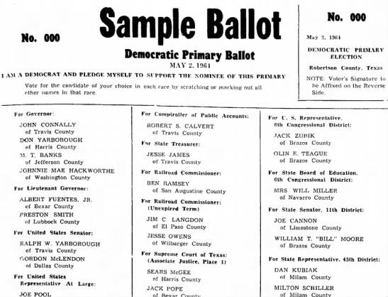 Jack Zubik -- Sample Ballot for Democratic Primary