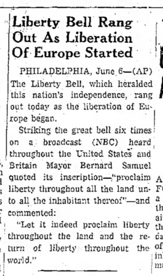 Liberty bell rang on D-day.