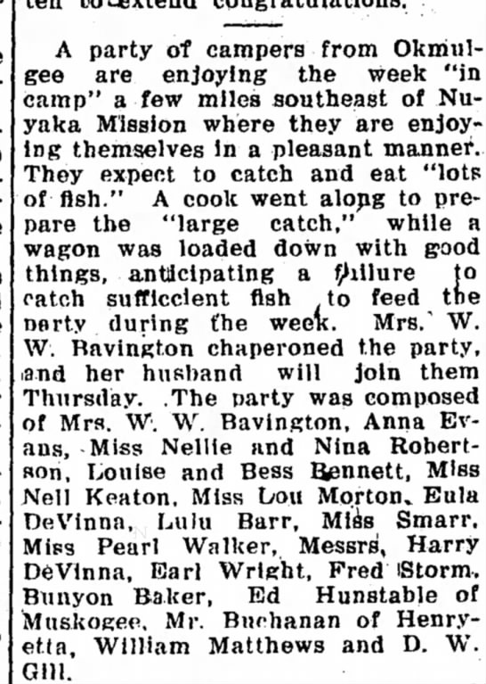 Camping out Eula Devinna and Harry Devinna. Muskogee New-State Tribune, 27 June 1907