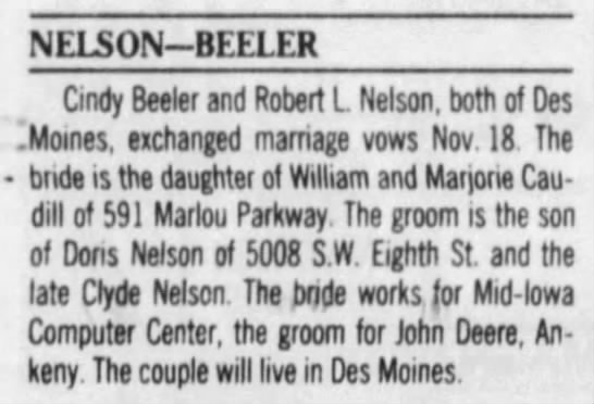 Marriage - Nelson - Beeler