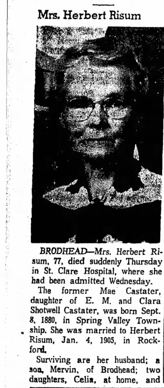 Mae (Castater) Risum obituary Janesville Daily Gazette 18 Apr 1958 part 1