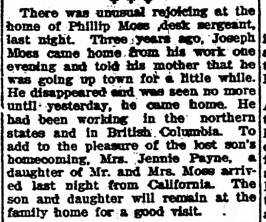 Moss Children Home For Visit - The Iola Register 1 Sept 1909 Page 2