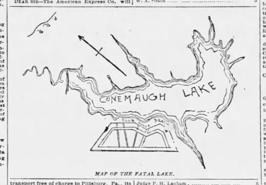 Map of Lake Conemaugh prior to the flood of 1889