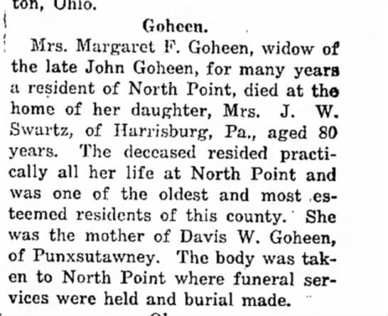 mrs margaret goheen dieswidow of john 20 Dec 1916
