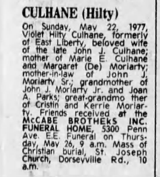 VIOLET HILTY CULHANE DEATH NOTICE