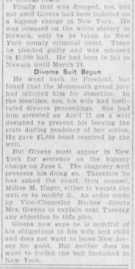 Grover Givens, bigamist, Asbury Park Press, 19 Apr 1924, p1 (pt 2)