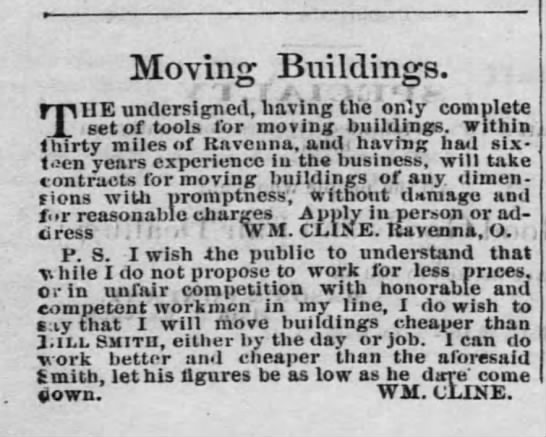 Wm Cline Ad for moving buildings