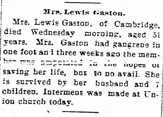 Mrs. Lewis Gaston obituary 1905