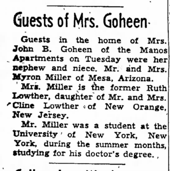 mrs john b goheen article dated 14 aug 1953